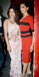 Priyanka Chopra (right) with Deepika Padukone